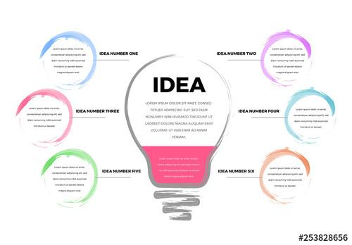 Infographic with 6 Sections and a Lightbulb Illustration - 253828656