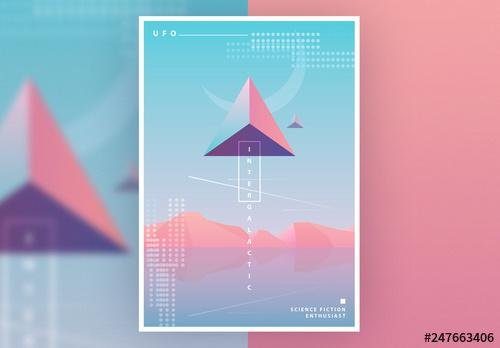 SciFi Poster Layout with Pastel Gradients - 247663406