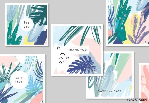 Abstract Illustrative Floral Card Layout Set - 282515609