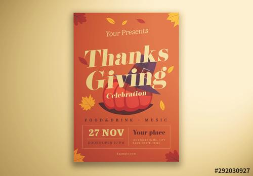 Thanksgiving Flyer Layout with Illustrative Elements - 292030927