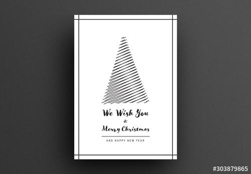 Minimal Card Layout with Abstract Christmas Tree - 303879865