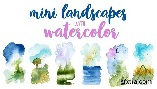 Painting mini landscapes with watercolor