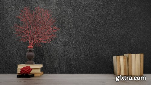 Decorative objects, old books and vases over black wall, japanese style Psd