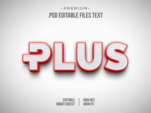 Plus 3d Text Effect, 3d White Red Text Style Effect Premium PSD