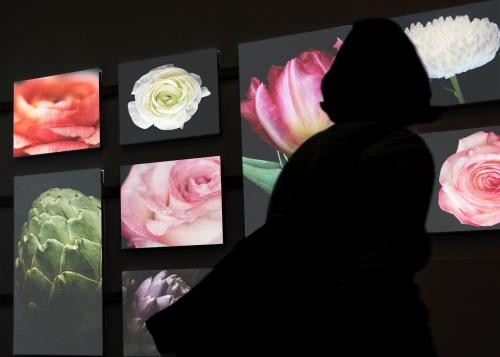 Woman's silhouette viewing photos in a dark gallery - 539233