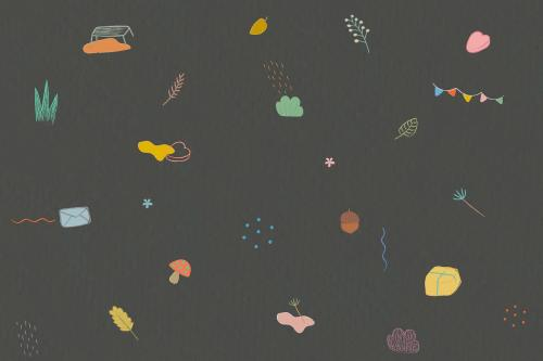 Autumn crayon doodles patterned background - 1220154