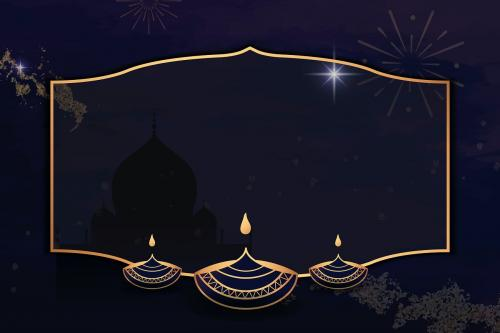 Gold frame on Diwali pattern background vector - 1213591