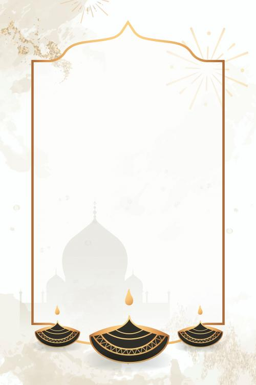 Gold frame on Diwali pattern background vector - 1213599