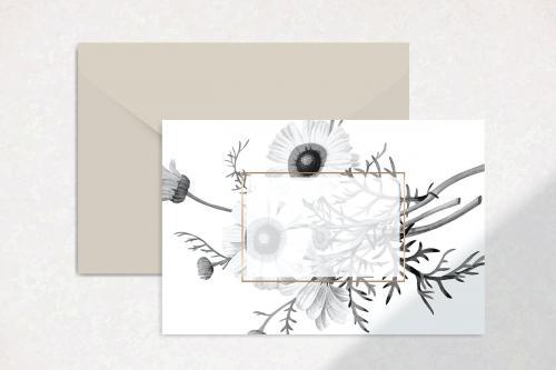 Blank floral card design vector - 1201126
