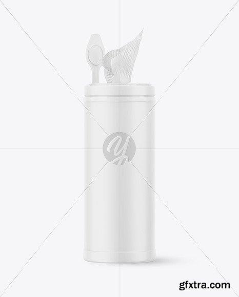 Matte Opened Sanitizing Wipes Canister Mockup 61948
