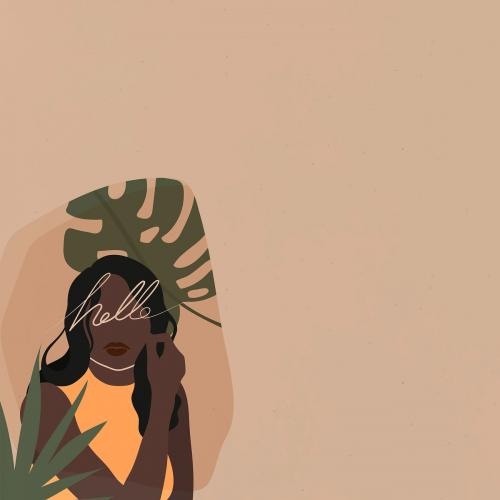 Black woman with a monstera leaf vector - 2034152