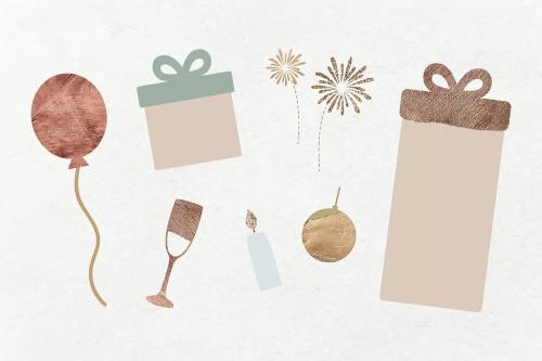 New Year pillar candle, gift boxes, ballon, gold ball, wine glass and fireworks doodle on textured background vector - 1233652