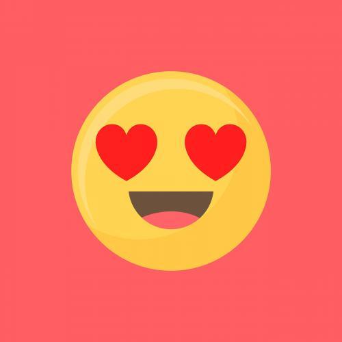 Heart-eyes face emoticon symbol vector - 1230171
