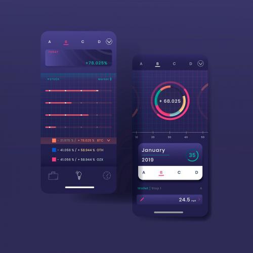 Dark purple stock trading infographic template design vector - 1055333