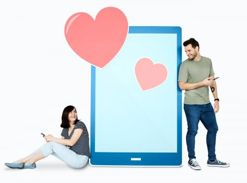 Couple texting loving message to each other - 450537