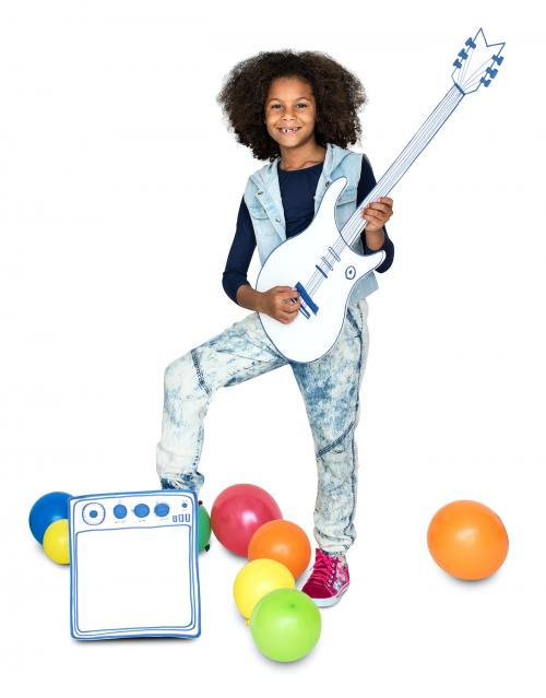 Portrait of a Little African Descent Girl with a Guitar Isolated - 4423