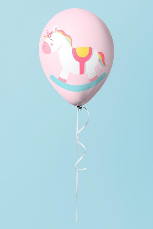 Pastel pink unicorn balloon mockup - 1224757