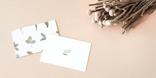 Business cards decorated with dried plants social banner - 2257138