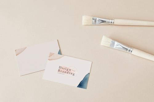 Design branding company card and paintbrushes mockup - 2257146