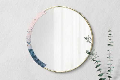 Marble framed mirror on a beige wall mockup - 2036806