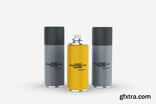 Glossy spray paint can mockup