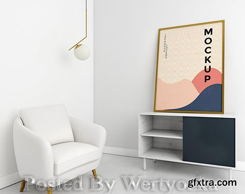 Front view living room assortment with frame mock-up