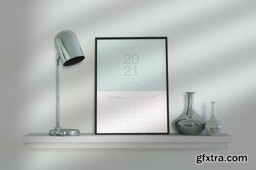 Desk with Calendar Mockup