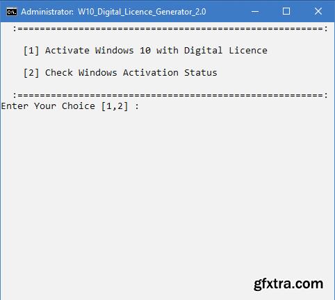 Windows 10 Digital Licence Generator 2.0