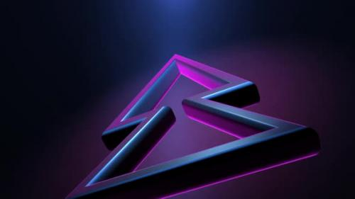 Videohive - 3d Glowing Purple Neon Light with Rewind Symbol - 32519471