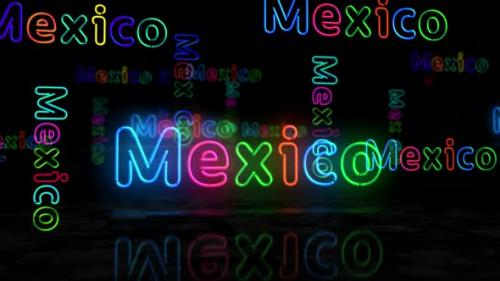 Videohive - Mexico city symbol glowing neon 3d lights - 32548733