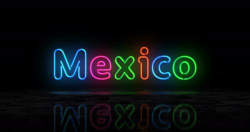 Videohive - Mexico city symbol glowing neon 3d lights - 32548734