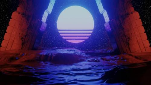 Videohive - Cyberspace Tunnel with Rocks and Sun - 32563413