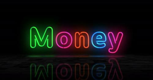 Videohive - Money glowing neon 3d lights - 32567312