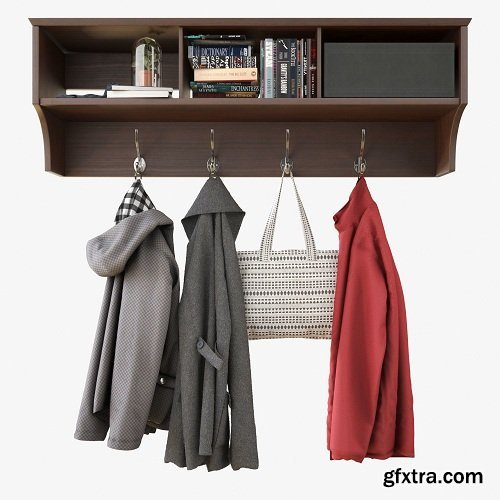 Cgtrader - Wall Shelf With Clothes 3D model