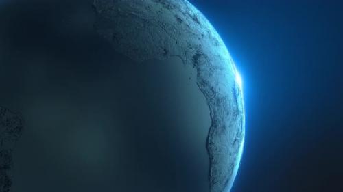 Videohive - Black Earth globe planet world map sunrise technology background universe - 33178532