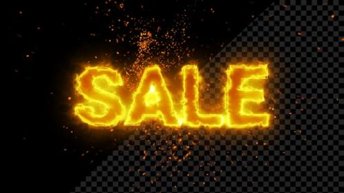 Videohive - Burning Sale Text Overlay With Flame Spark - 33705226