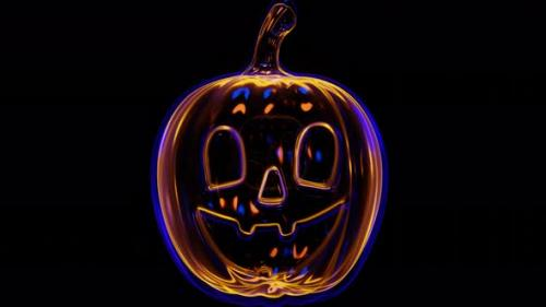 Videohive - Endless Loop appearance of neon pumpkin on a black background - 33706337