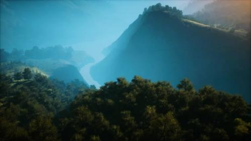 Videohive - Sunrise in Mountains in a Foggy Morning - 33848518