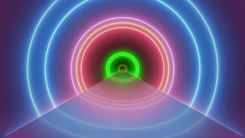 Videohive - Flight Inside Tunnel, Neon Light Abstract Background (3) - 34115653