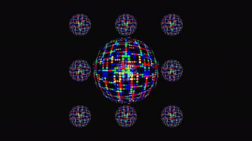 Videohive - animated round shape of multicolor flashing lights, on a black background - 34119766