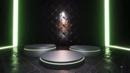Videohive - Product Showcase Spotlight Background With Green Neon Lights - 34167630