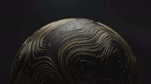 Videohive - Spinning Golden Ball with Circular Topographic Animated Lines and Particles on Black Background - 34211510