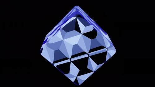 Videohive - Fantastic Blue Cube on a Black Background - 34228766