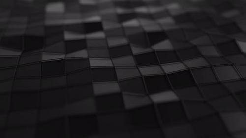 Videohive - Animated Low Poly Wavy Black Background - 30072549